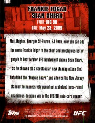 2010 Topps UFC #186 Frankie Edgar/Sean Sherk back image