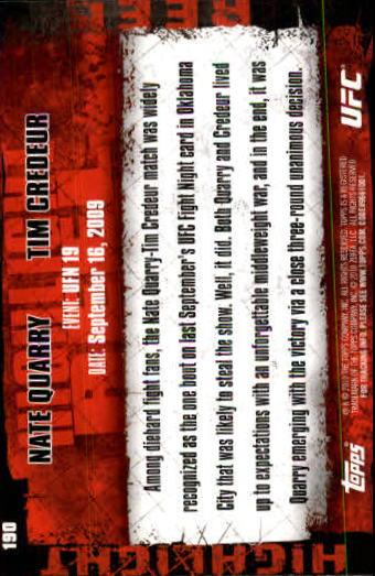2010 Topps UFC #190 Nate Quarry/Tim Credeur back image