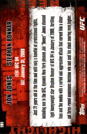 2010 Topps UFC #191 Jon Jones/Stephan Bonnar back image