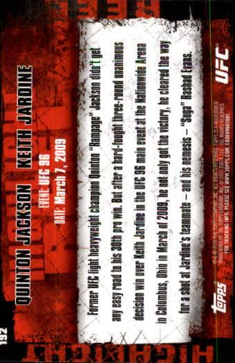 2010 Topps UFC #192 Quinton Jackson/Keith Jardine back image