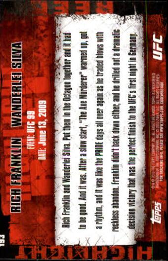 2010 Topps UFC #193 Rich Franklin/Wanderlei Silva back image
