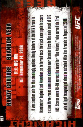 2010 Topps UFC #197 Randy Couture/Brandon Vera back image