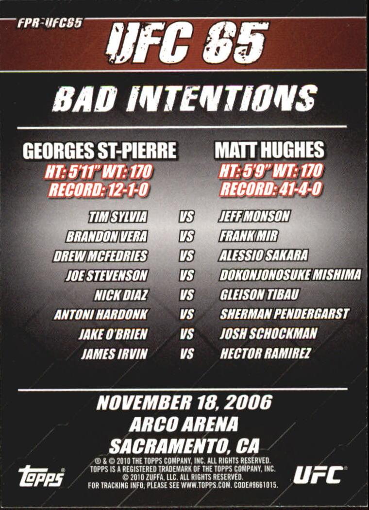 2010 Topps UFC Fight Poster #UFC65 UFC 65/Matt Hughes/Georges St-Pierre/Tim Sylvia/Jeff Monson back image