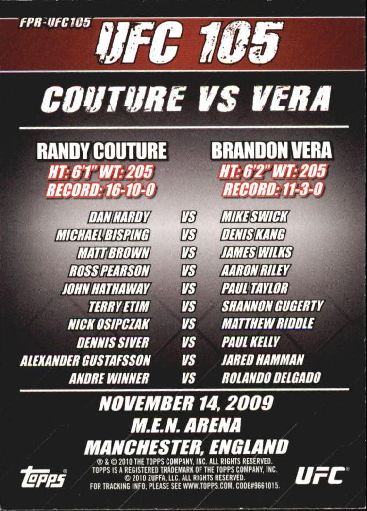 2010 Topps UFC Fight Poster #UFC105 UFC 105/Randy Couture/Brandon Vera/Mike Swick/Dan Hardy/Michael Bisping/Denis Kang back image
