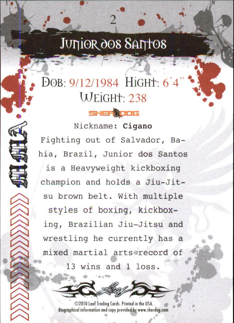 2010 Leaf MMA #2 Junior dos Santos back image