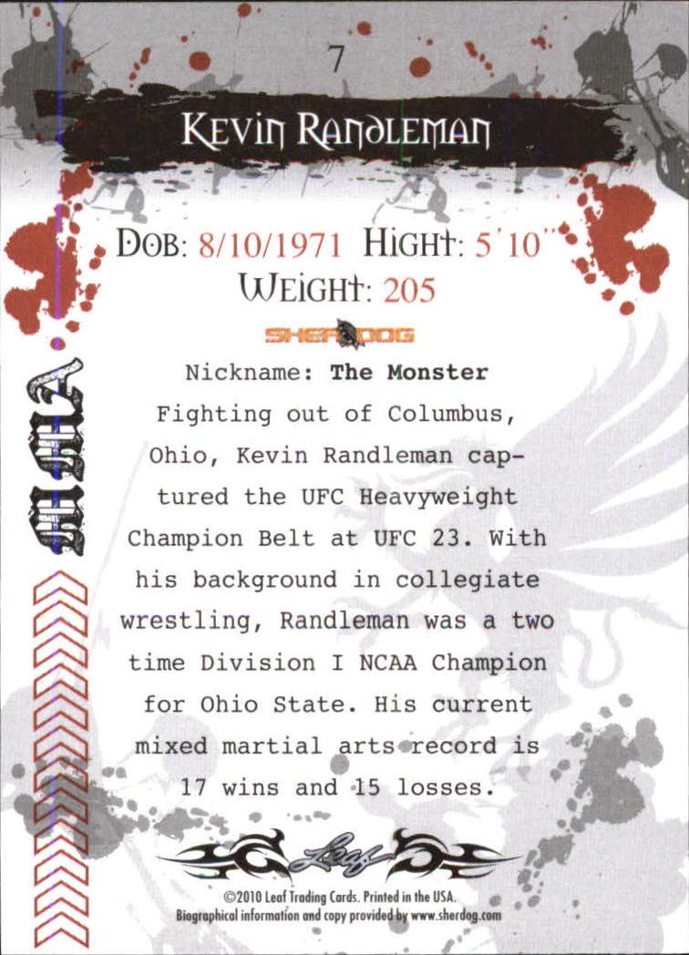 2010 Leaf MMA #7 Kevin Randleman back image