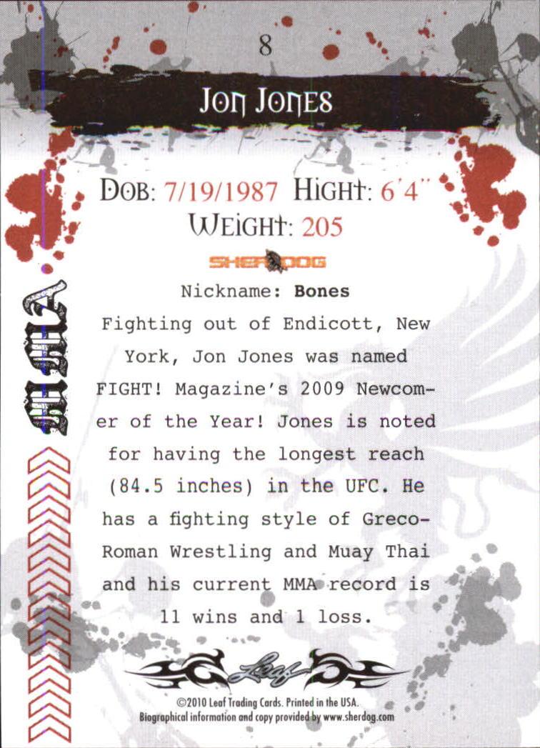 2010 Leaf MMA #8 Jon Jones back image