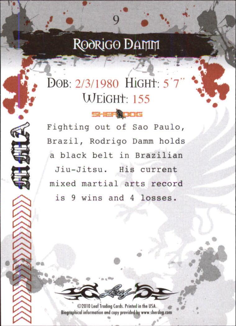 2010 Leaf MMA #9 Rodrigo Damm back image