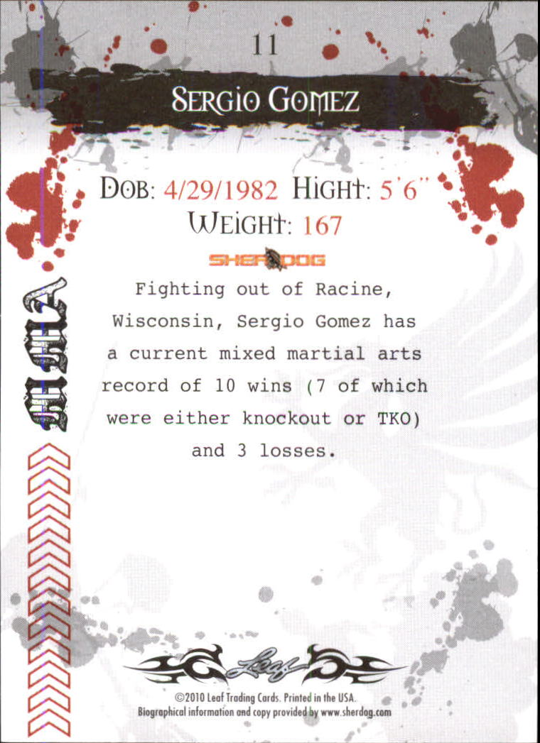 2010 Leaf MMA #11 Sergio Gomez back image