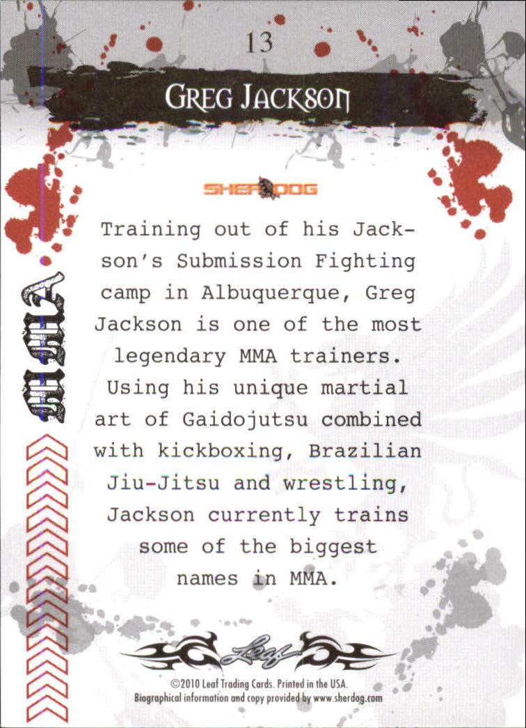 2010 Leaf MMA #13 Greg Jackson back image