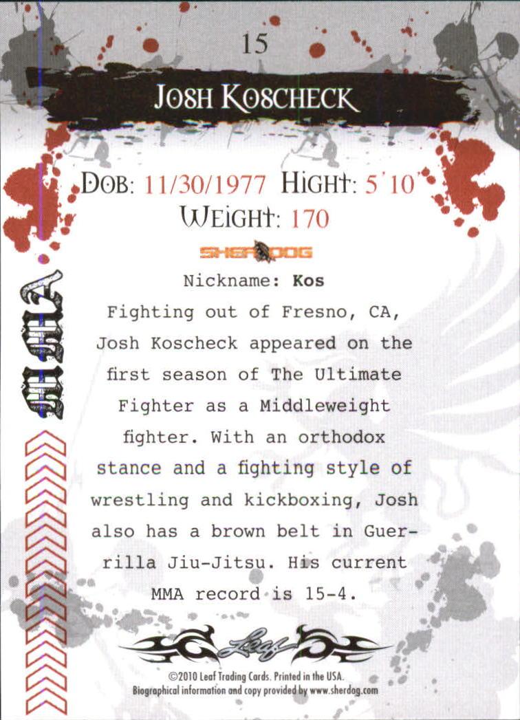 2010 Leaf MMA #15 Josh Koscheck back image