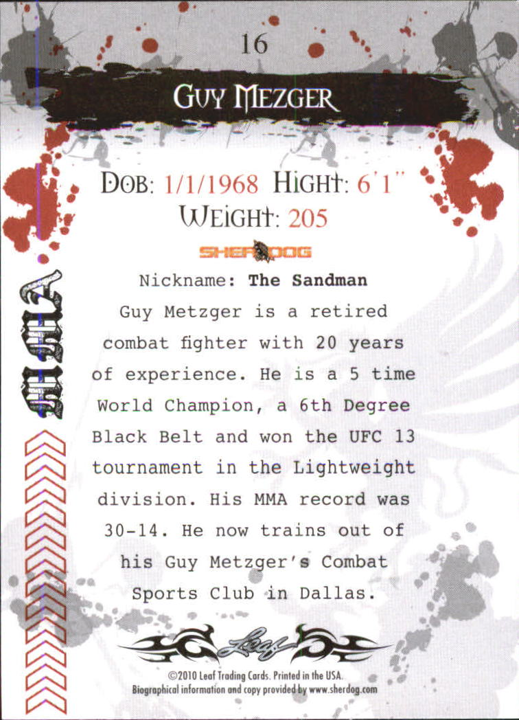 2010 Leaf MMA #16 Guy Mezger back image
