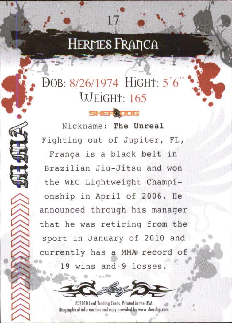 2010 Leaf MMA #17 Hermes Franca back image