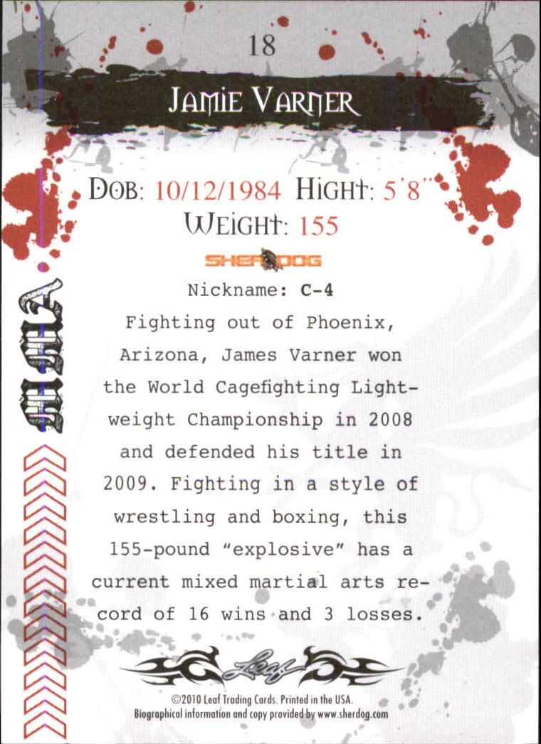 2010 Leaf MMA #18 Jamie Varner back image