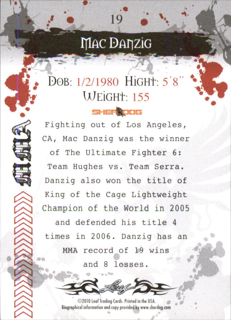 2010 Leaf MMA #19 Mac Danzig back image