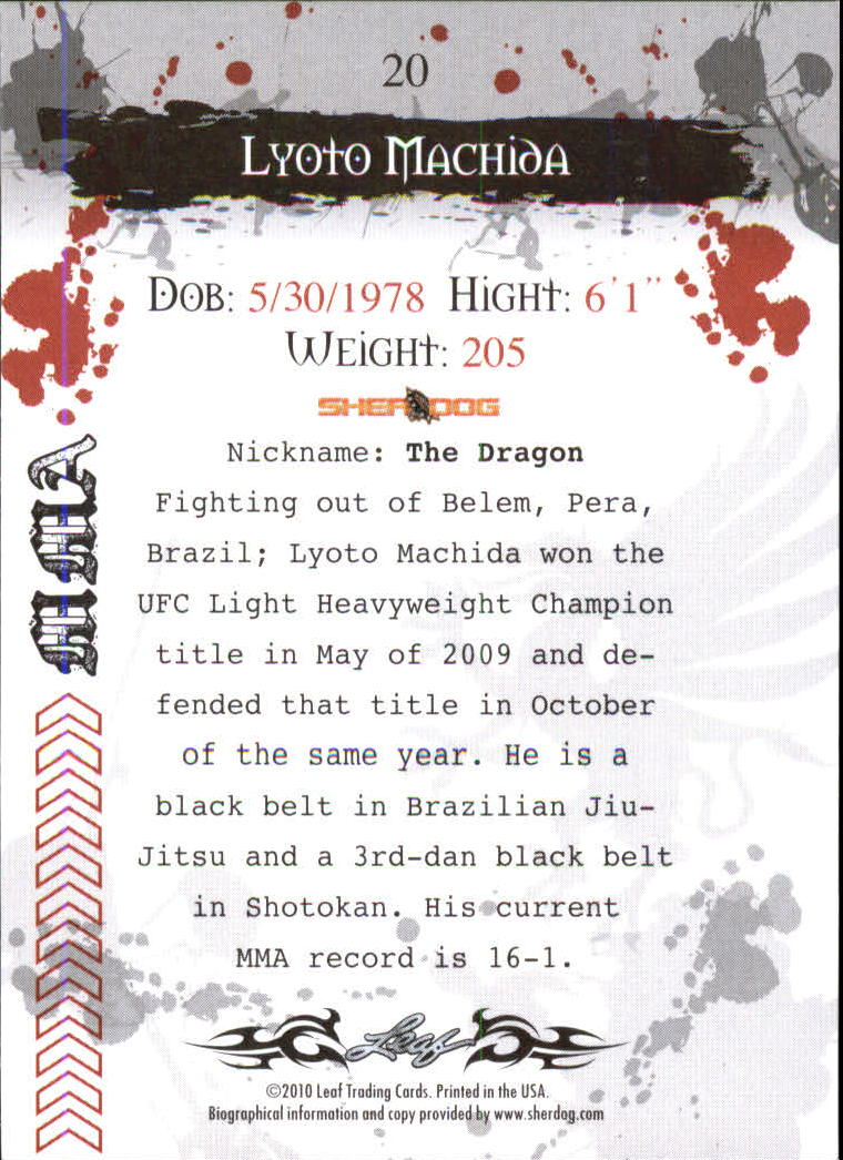 2010 Leaf MMA #20 Lyoto Machida back image