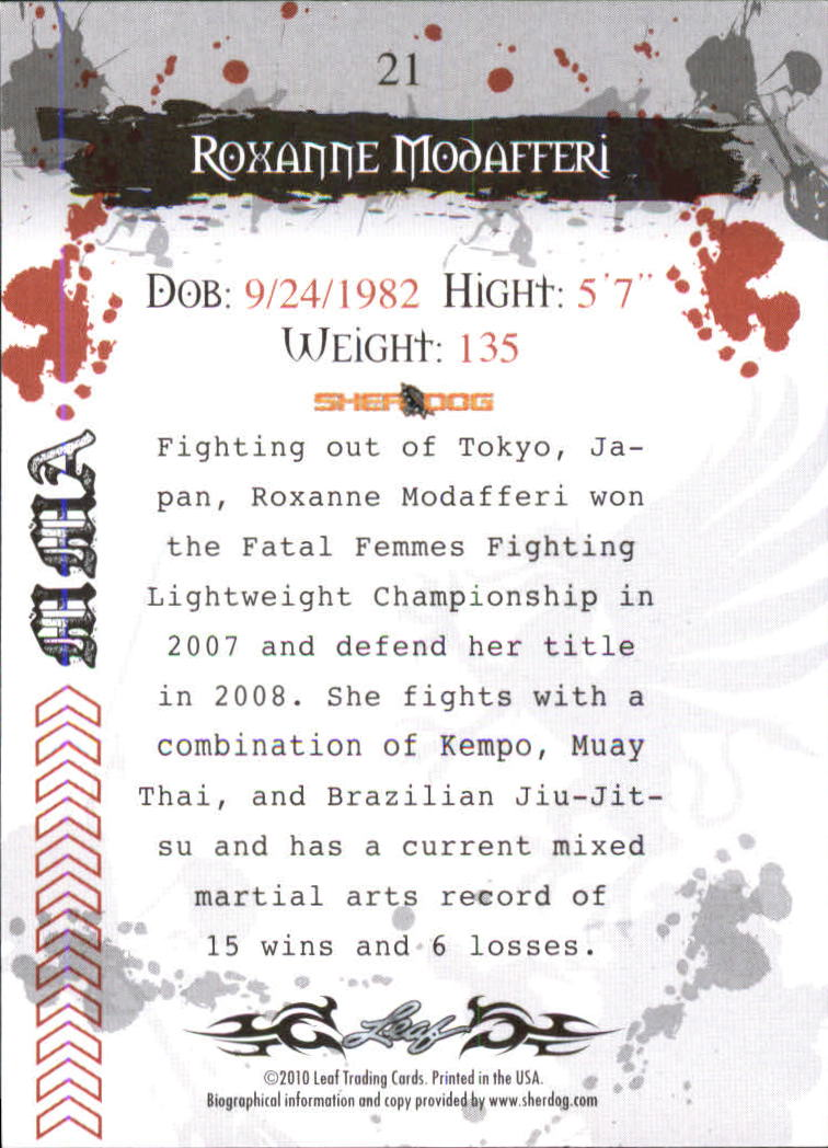 2010 Leaf MMA #21 Roxanne Modafferi back image