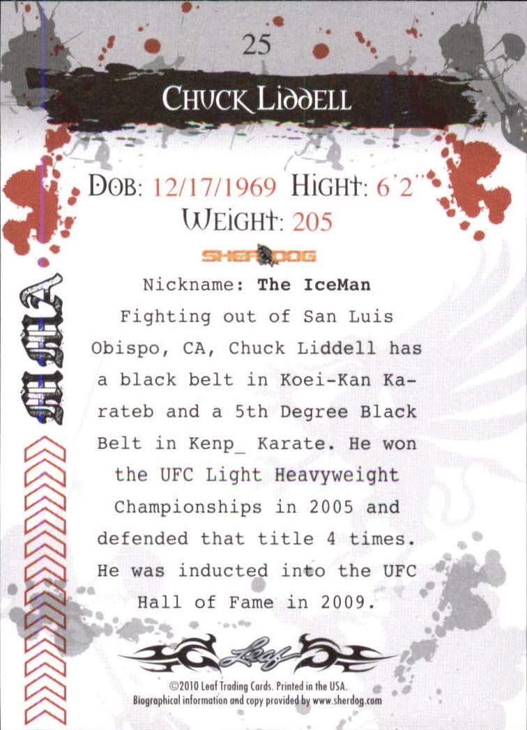 2010 Leaf MMA #25 Chuck Liddell back image