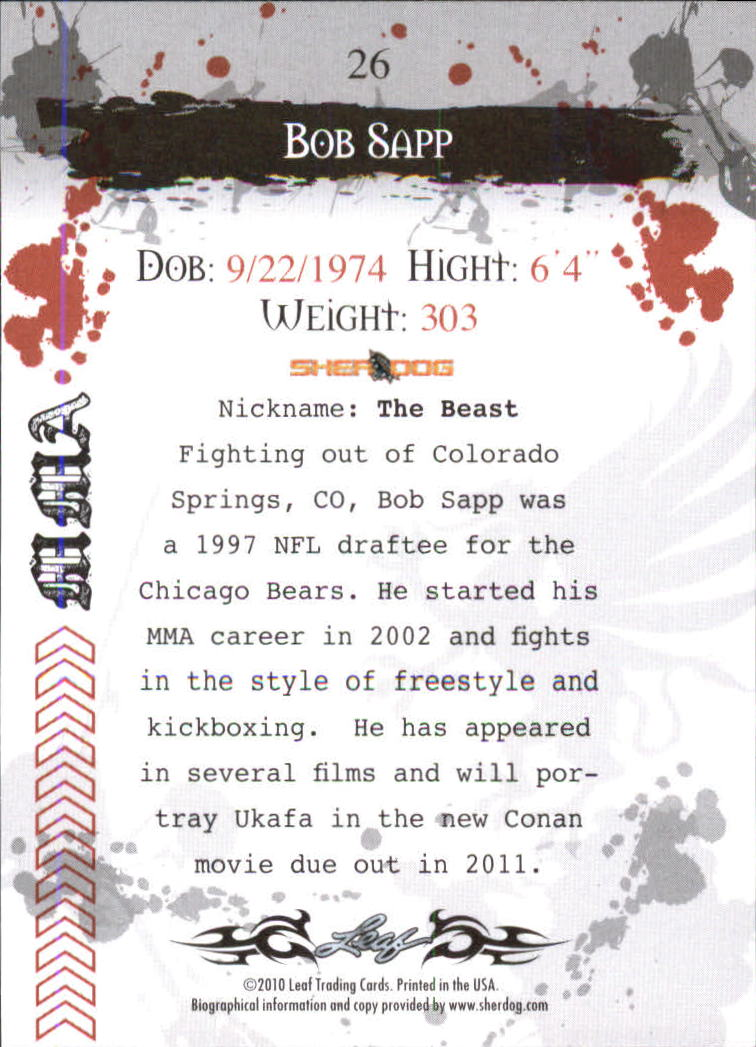 2010 Leaf MMA #26 Bob Sapp back image
