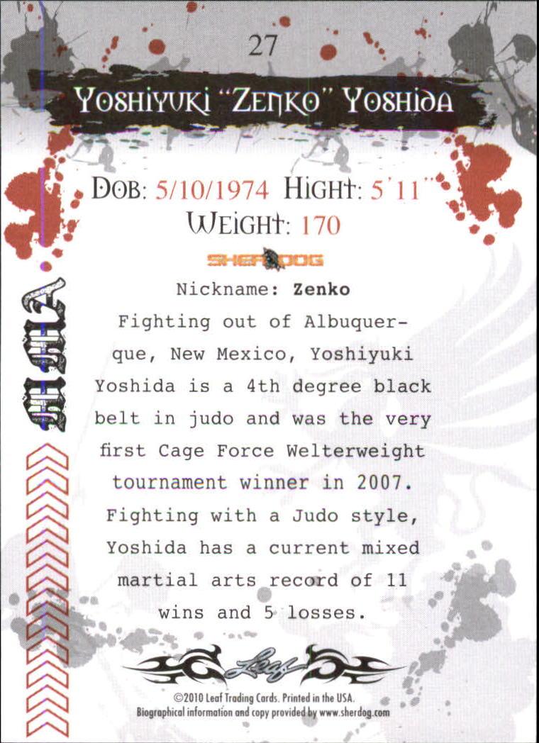 2010 Leaf MMA #27 Yoshiyuki Yoshida back image