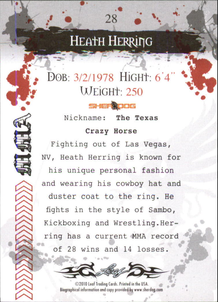 2010 Leaf MMA #28 Heath Herring back image