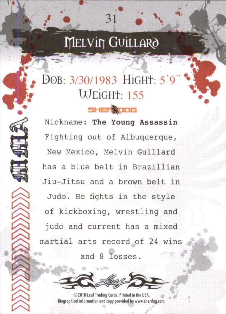2010 Leaf MMA #31 Melvin Guillard back image
