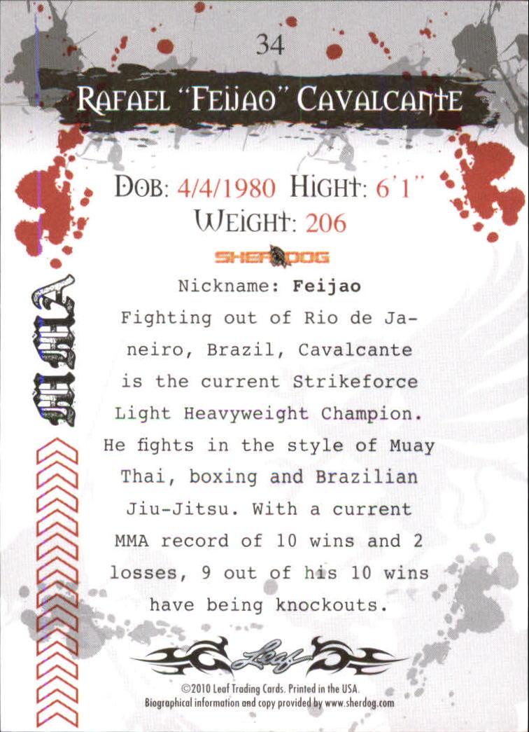 2010 Leaf MMA #34 Rafael Cavalcante back image