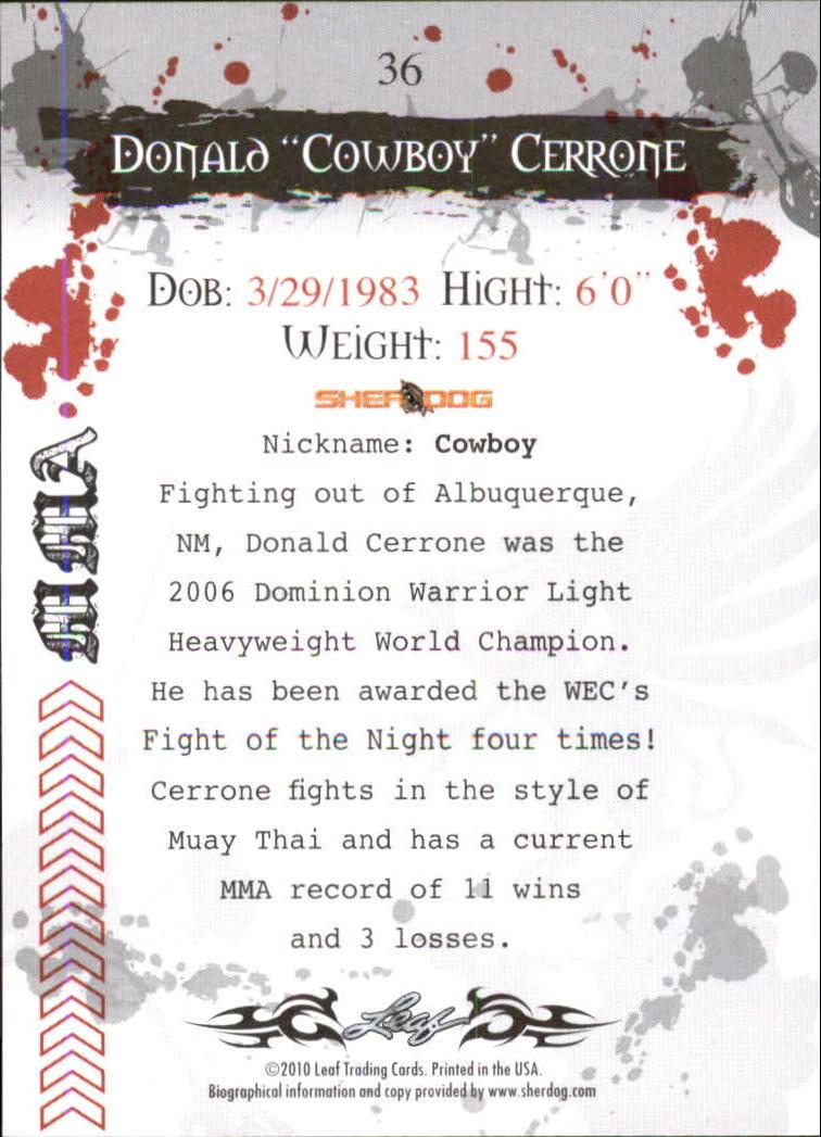 2010 Leaf MMA #36 Donald Cerrone back image