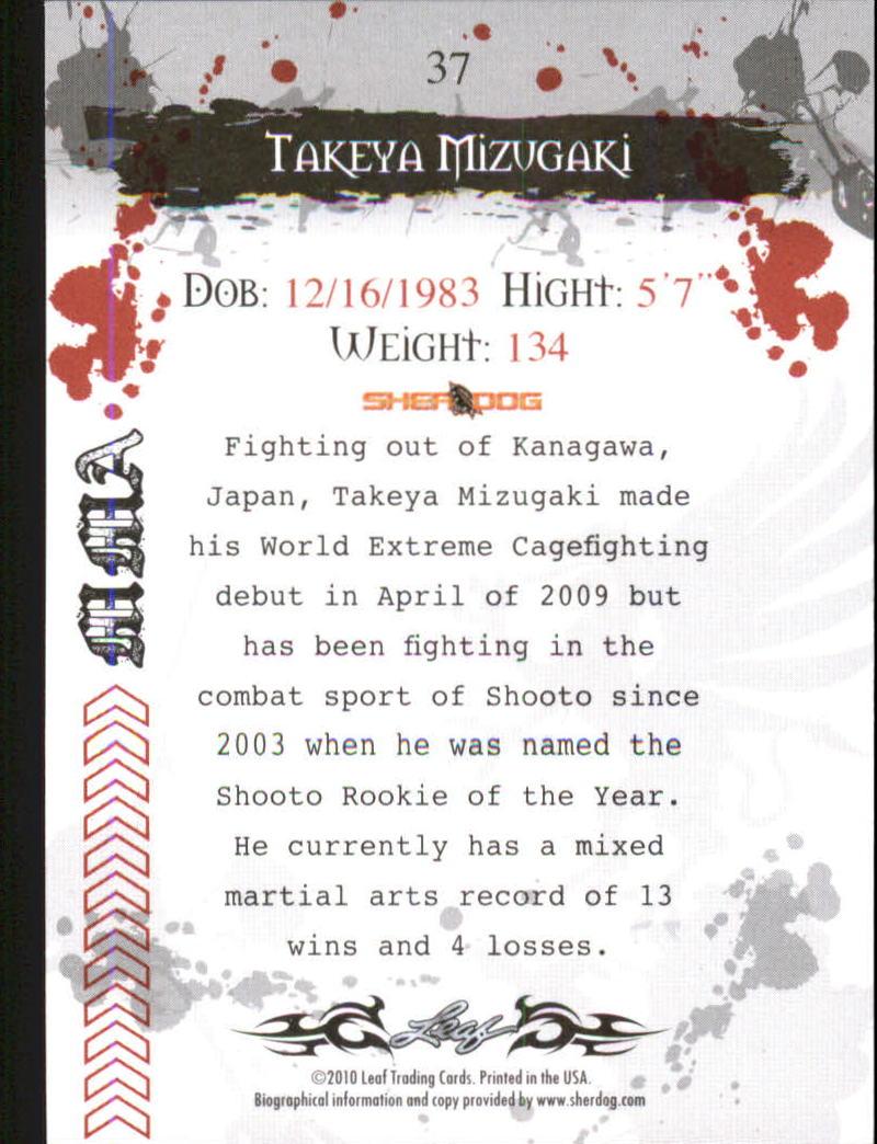 2010 Leaf MMA #37 Takeya Mizugaki back image