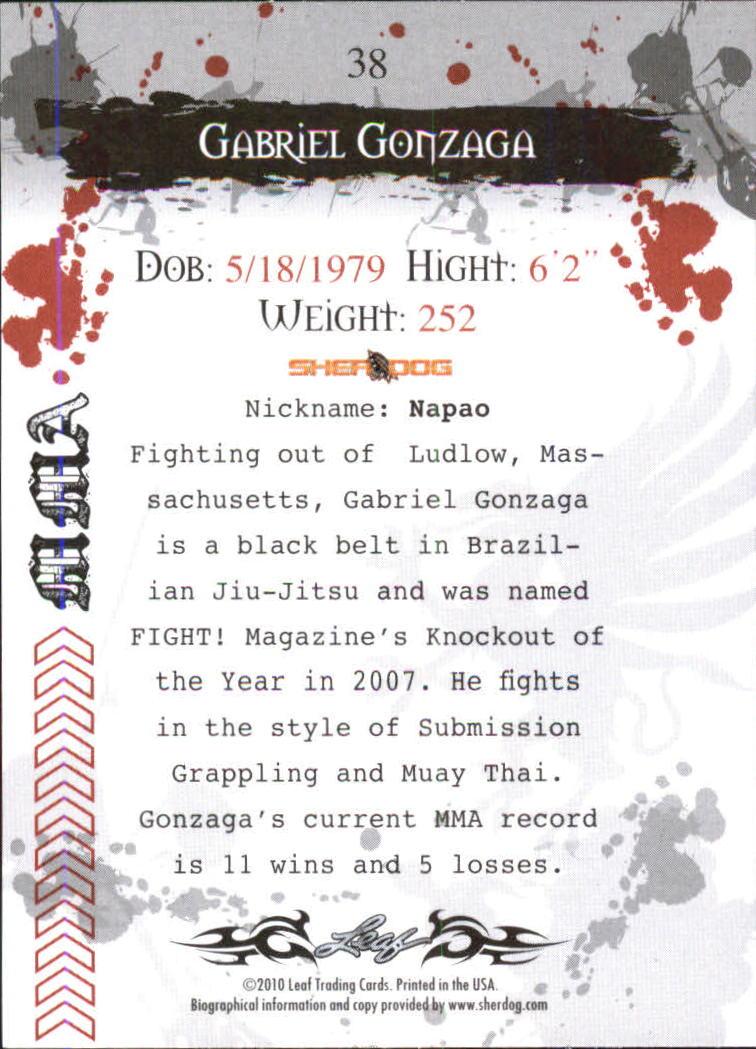 2010 Leaf MMA #38 Gabriel Gonzaga back image