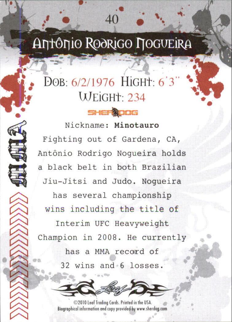 2010 Leaf MMA #40 Antonio Rodrigo Nogueira back image