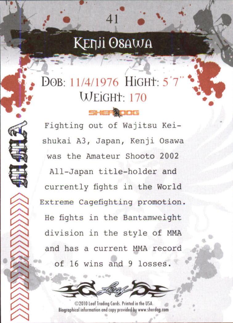 2010 Leaf MMA #41 Kenji Osawa back image