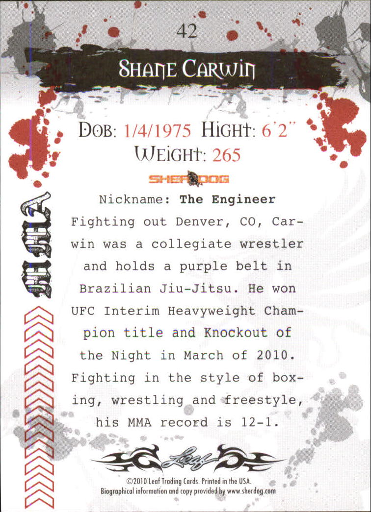2010 Leaf MMA #42 Shane Carwin back image