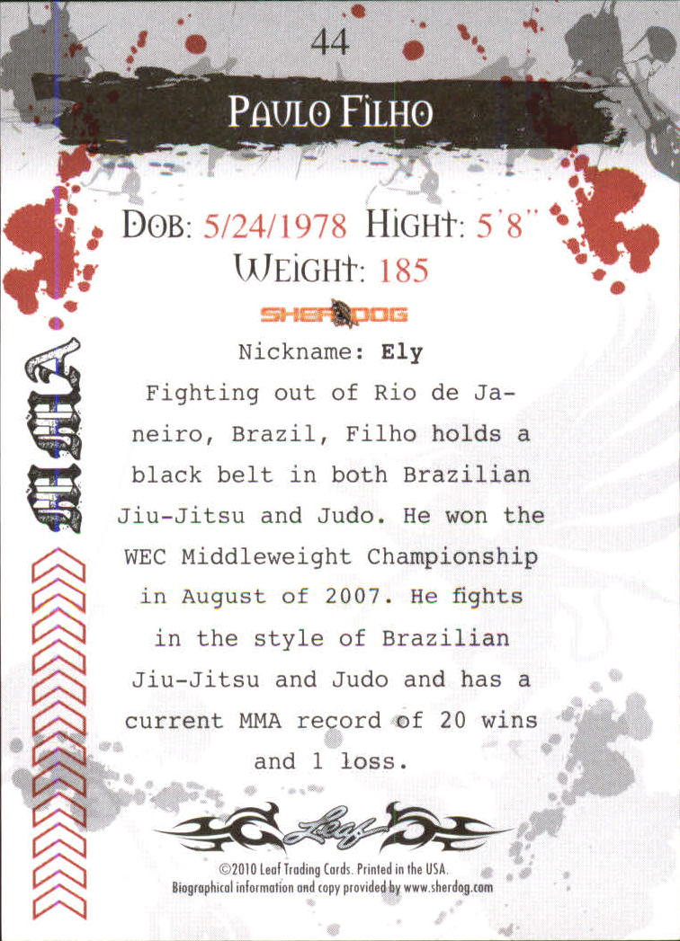 2010 Leaf MMA #44 Paulo Filho back image