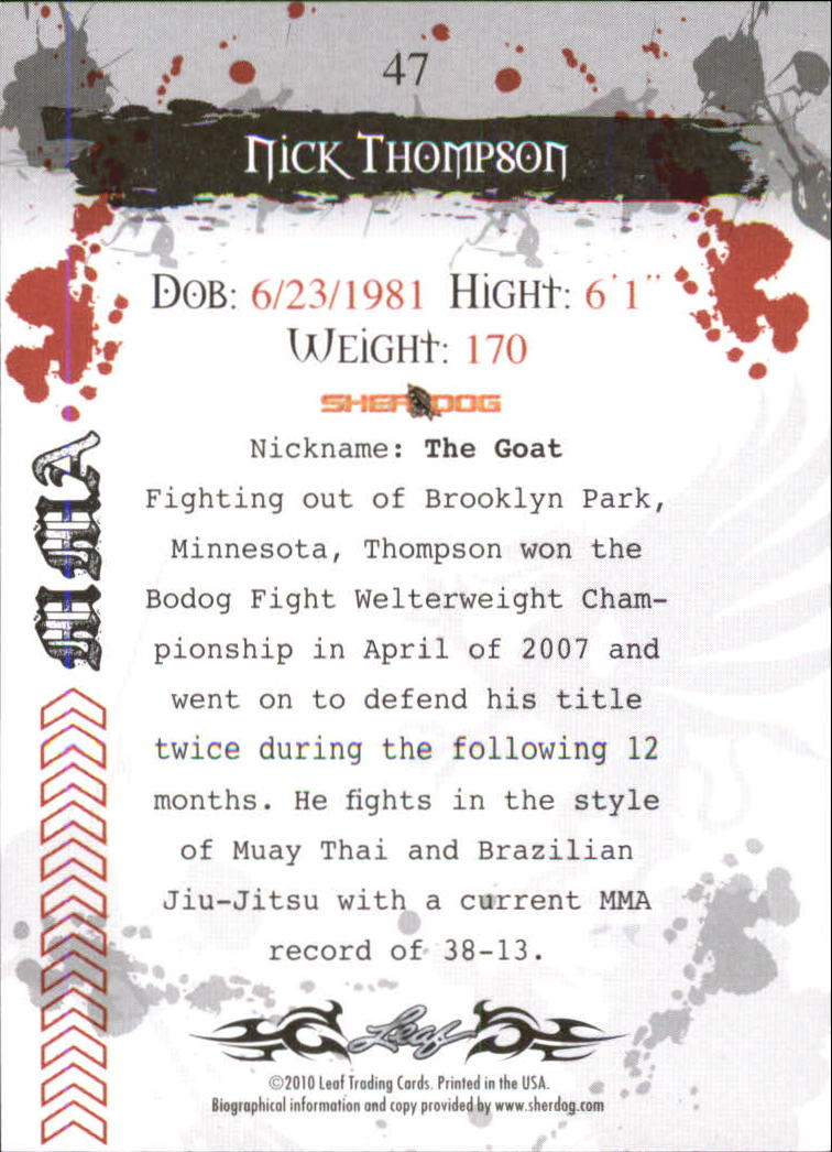 2010 Leaf MMA #47 Nick Thompson back image