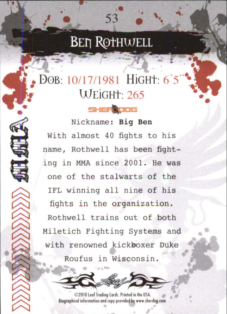 2010 Leaf MMA #53 Ben Rothwell back image
