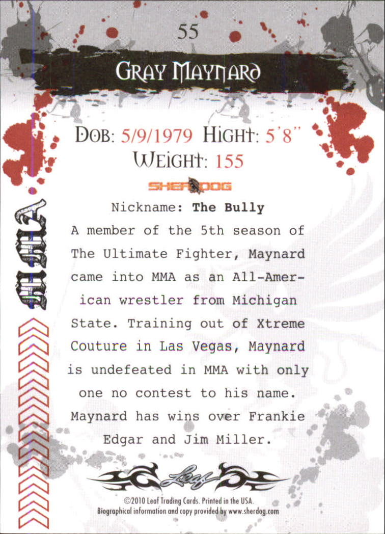 2010 Leaf MMA #55 Gray Maynard back image