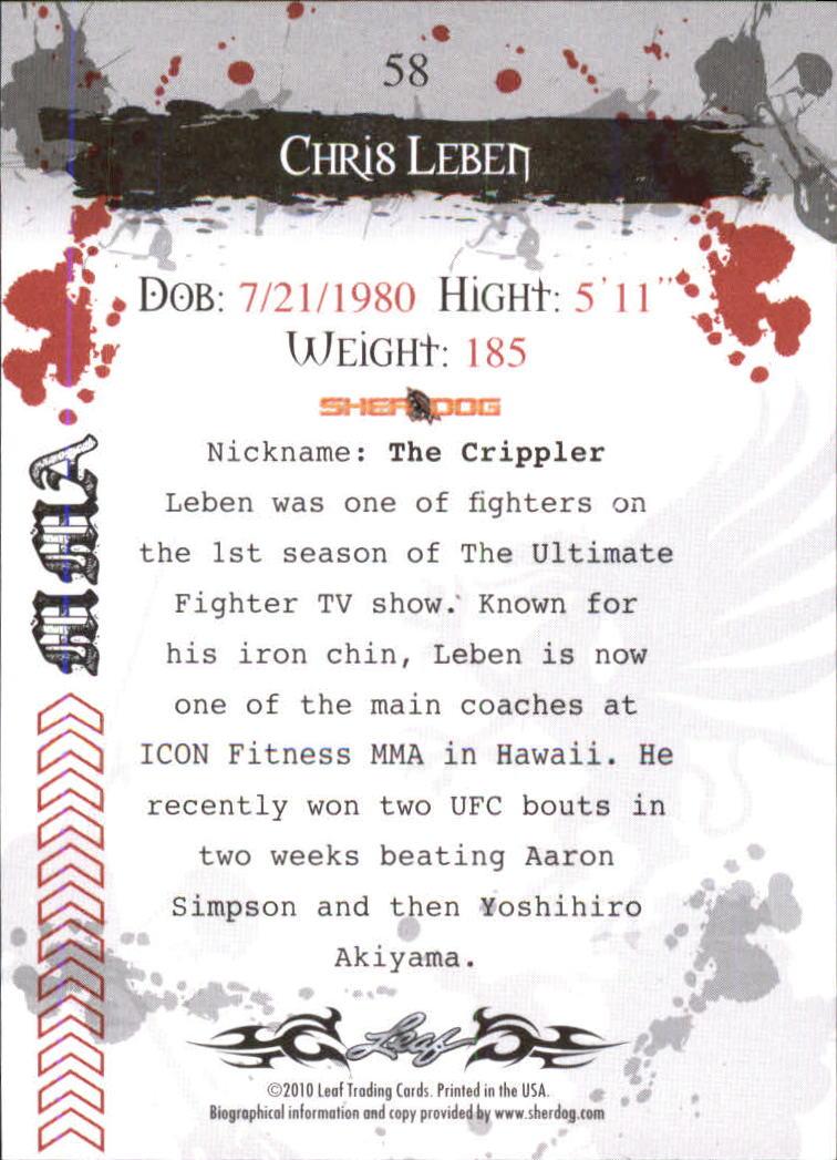 2010 Leaf MMA #58 Chris Leben back image