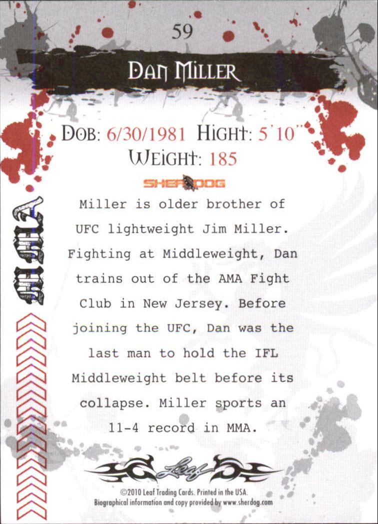 2010 Leaf MMA #59 Dan Miller back image
