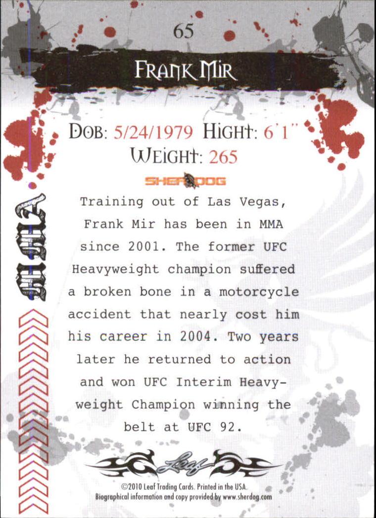 2010 Leaf MMA #65 Frank Mir back image