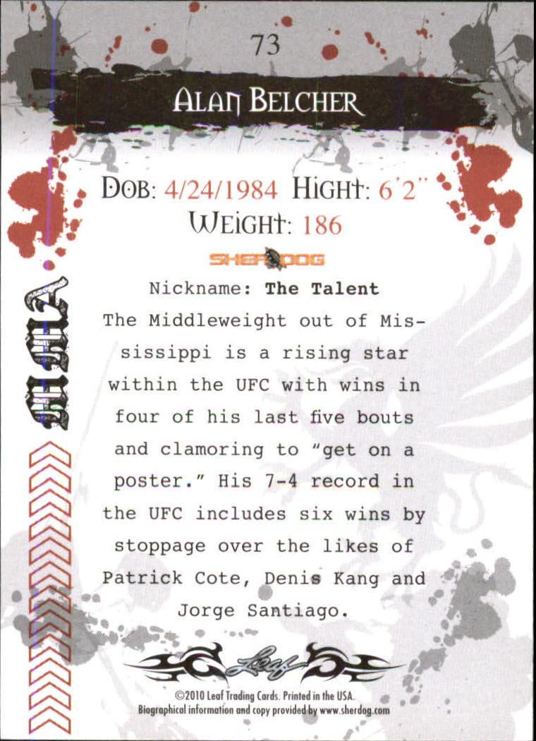 2010 Leaf MMA #73 Alan Belcher back image