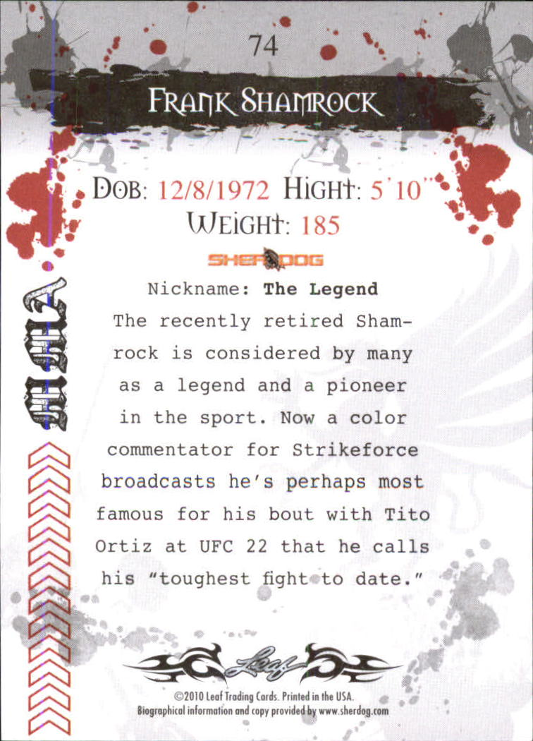 2010 Leaf MMA #74 Frank Shamrock back image
