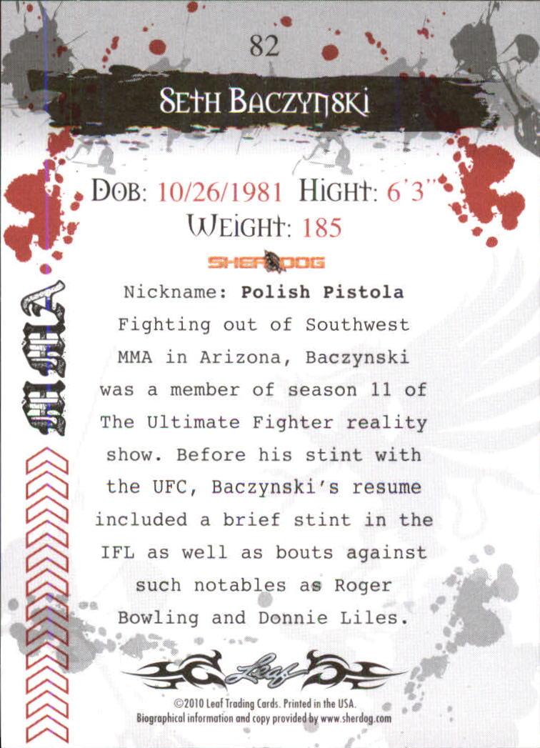 2010 Leaf MMA #82 Seth Baczynski back image