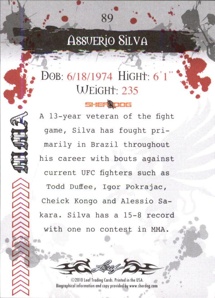 2010 Leaf MMA #89 Assuerio Silva back image