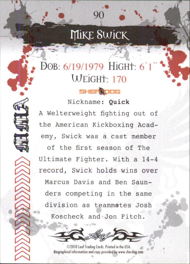 2010 Leaf MMA #90 Mike Swick back image