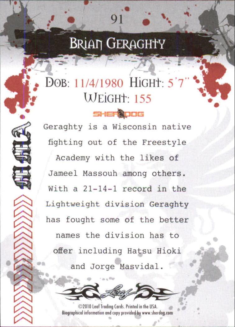 2010 Leaf MMA #91 Brian Geraghty back image