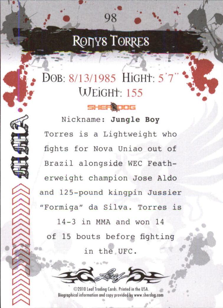 2010 Leaf MMA #98 Ronys Torres back image