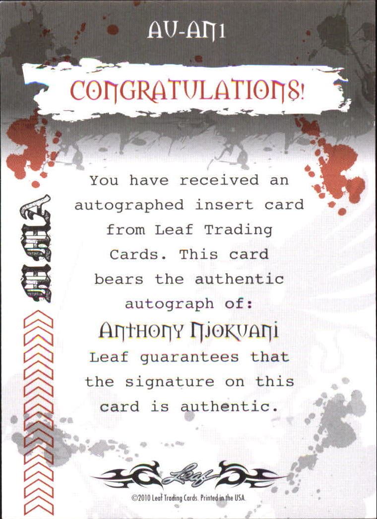 2010 Leaf MMA Autographs Red #AUAN1 Anthony Njokuani back image