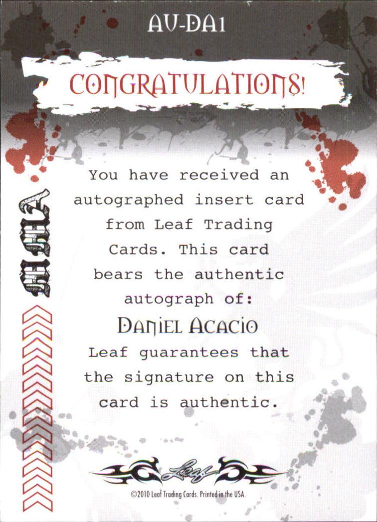 2010 Leaf MMA Autographs Red #AUDA1 Daniel Acacio back image