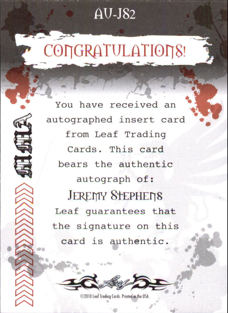 2010 Leaf MMA Autographs Red #AUJS2 Jeremy Stephens back image